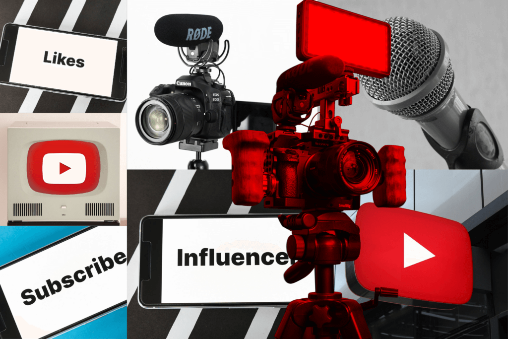 Decorative collage image of YouTube icons and camers